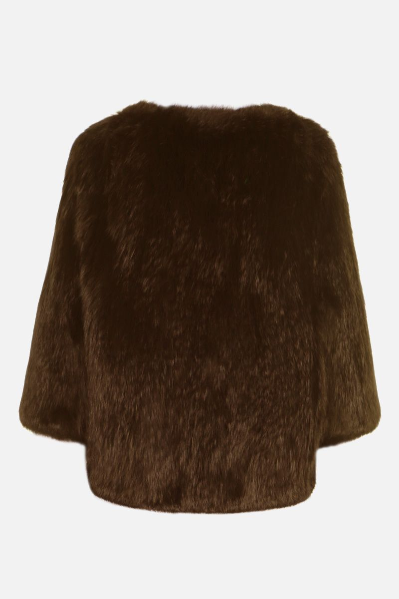 YVES SALOMON: rabbit fur short jacket Color Brown_2