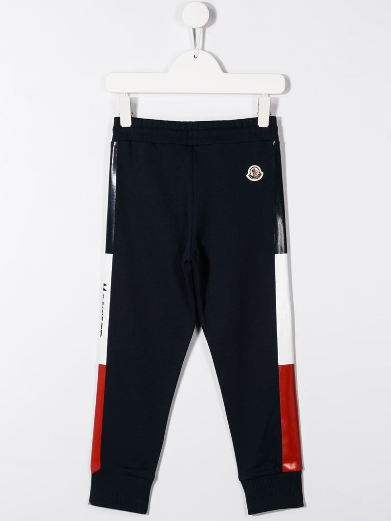 MONCLER KIDS: logoed bands cotton joggers Color Black_2