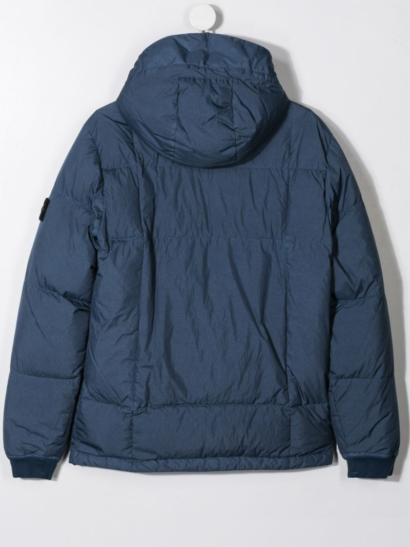 STONE ISLAND JUNIOR: technical fabric down jacket with logo badge Color Blue_2