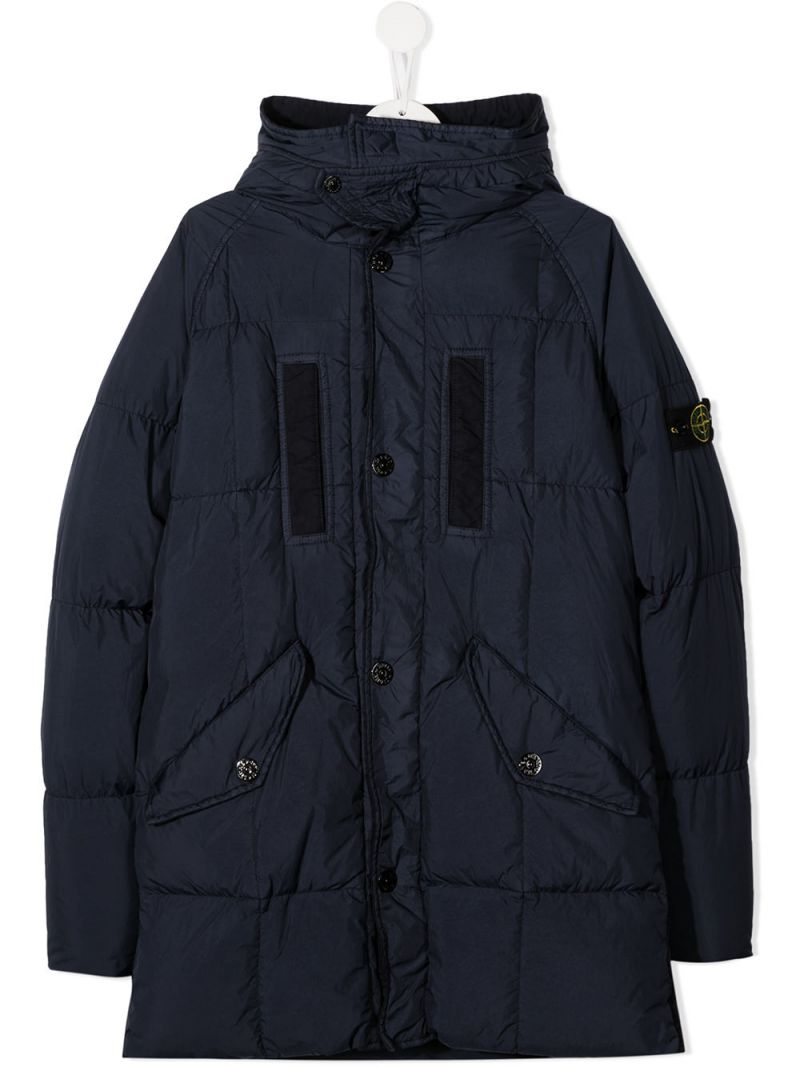 STONE ISLAND JUNIOR: logo badge-detailed nylon down jacket Color Blue_1