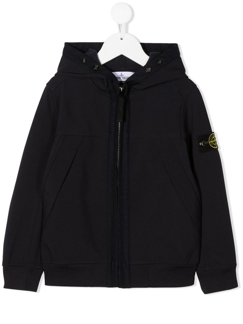 STONE ISLAND JUNIOR: logo badge-detailed technical cotton full-zip jacket Color Blue_1