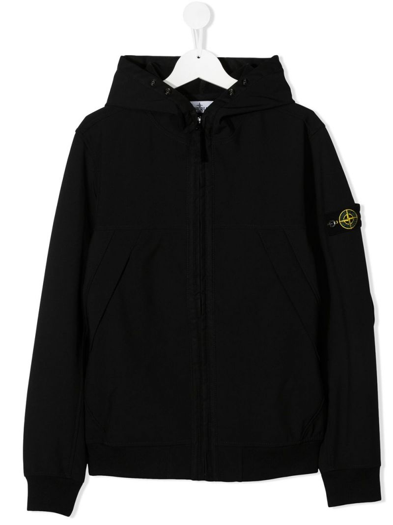 STONE ISLAND JUNIOR: logo badge-detailed technical cotton full-zip jacket Color Black_1