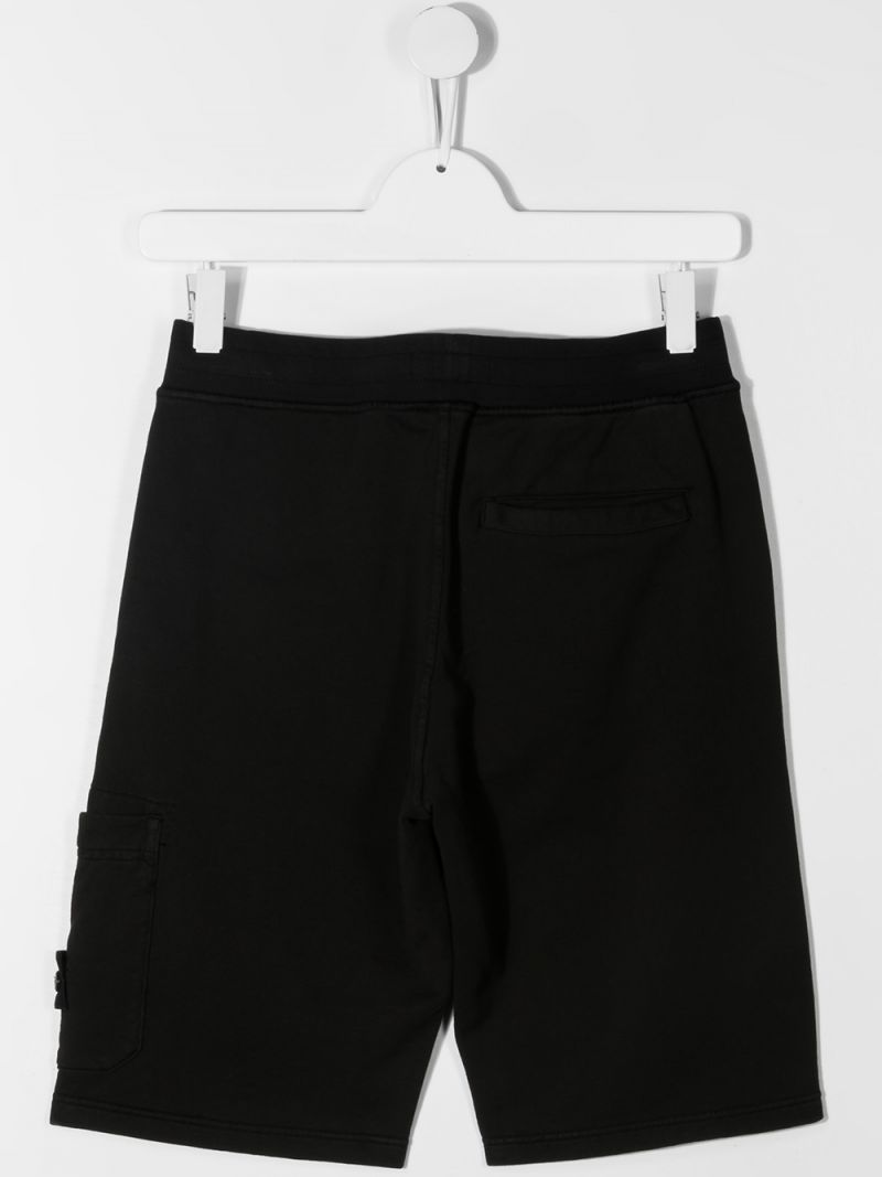 STONE ISLAND JUNIOR: logo badge-detailed cotton shorts Color Black_2