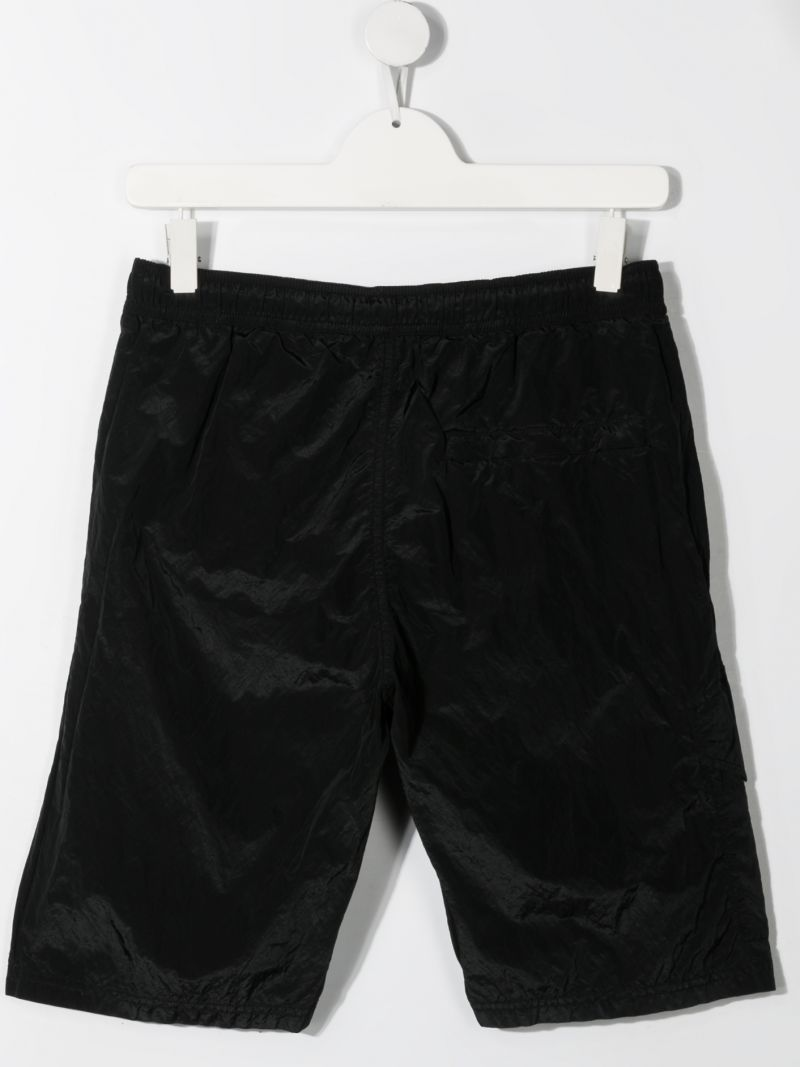 STONE ISLAND JUNIOR: logo patch nylon shorts Color Black_2