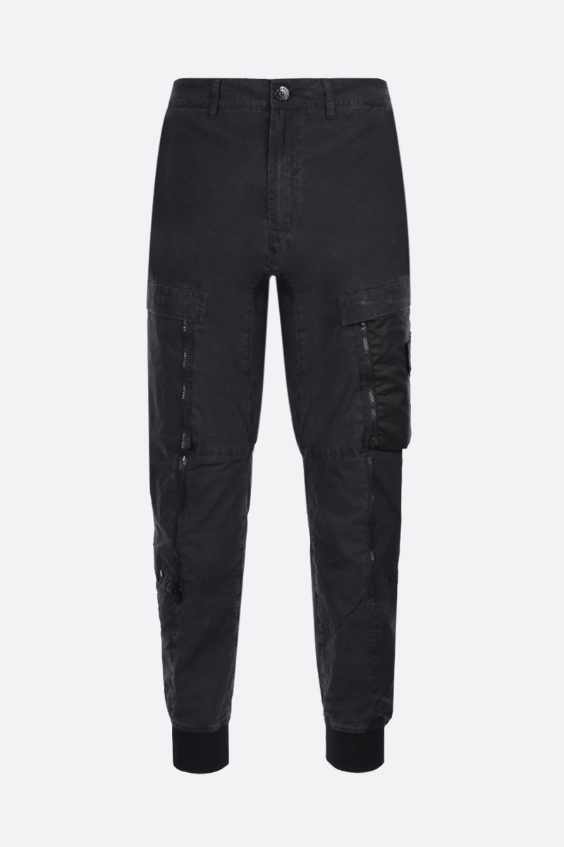 STONE ISLAND SHADOW PROJECT: logo badge-detailed technical cotton cargo pants Color Black_1