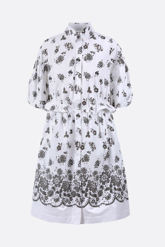 SIMONE ROCHA: floral print cotton shirt dress Color Grey_1