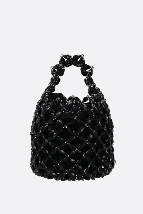 SIMONE ROCHA: borsa shopping small in resina con cristalli Colore Nero_1