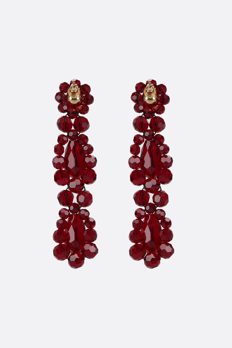 SIMONE ROCHA: crystal-embellished brass short drop earrings Color Red_2