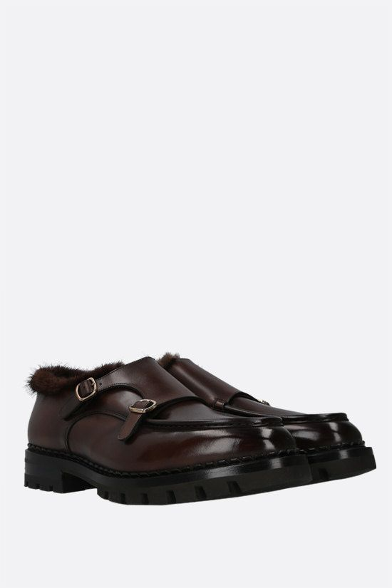 SANTONI: shiny leather monk-strap shoes Color Brown_2
