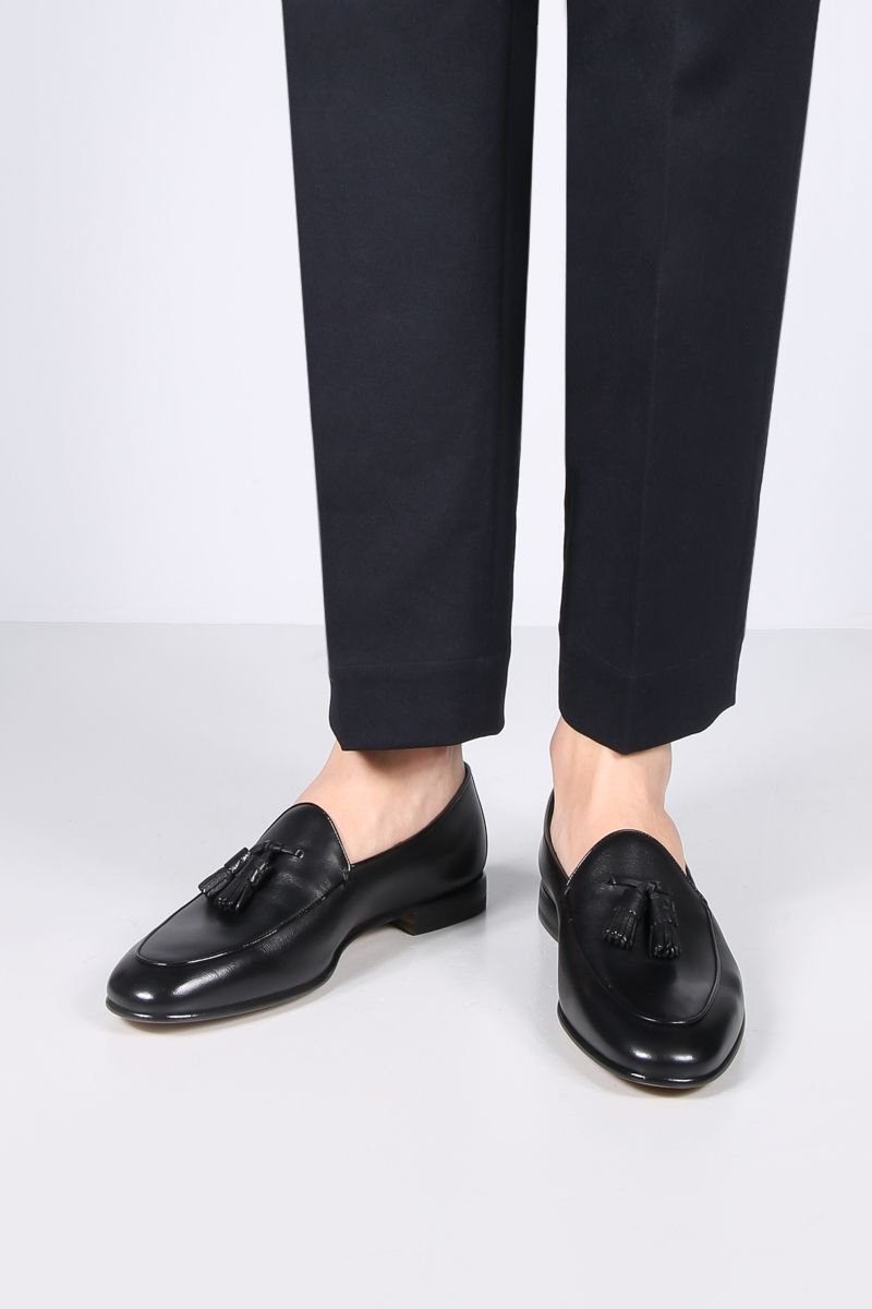 SANTONI: smooth leather loafers Color Black_2