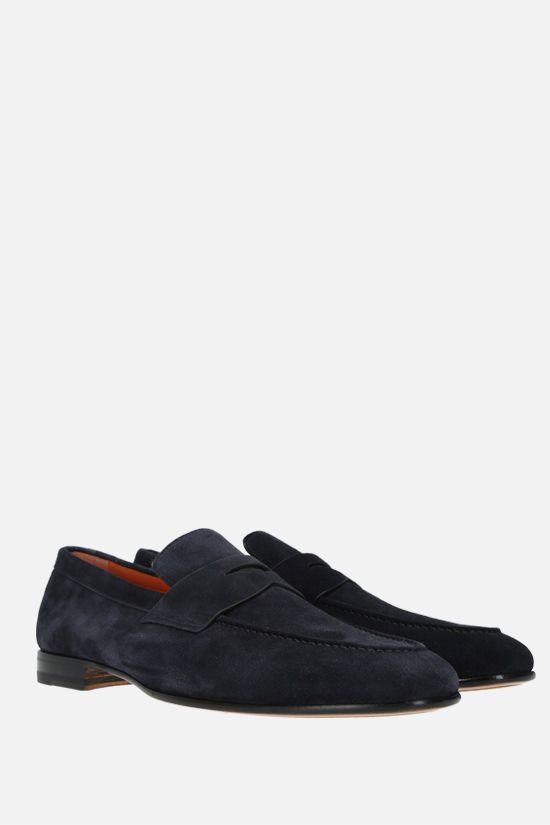 SANTONI: suede loafers Color Blue_2