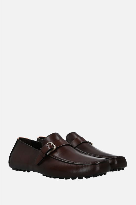 SANTONI: strap-detailed smooth leather loafers Color Brown_2