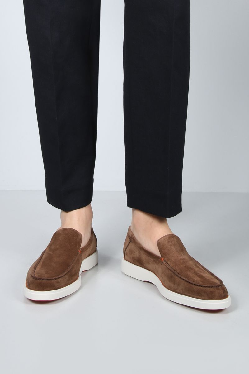 SANTONI: suede loafers Color Brown_2
