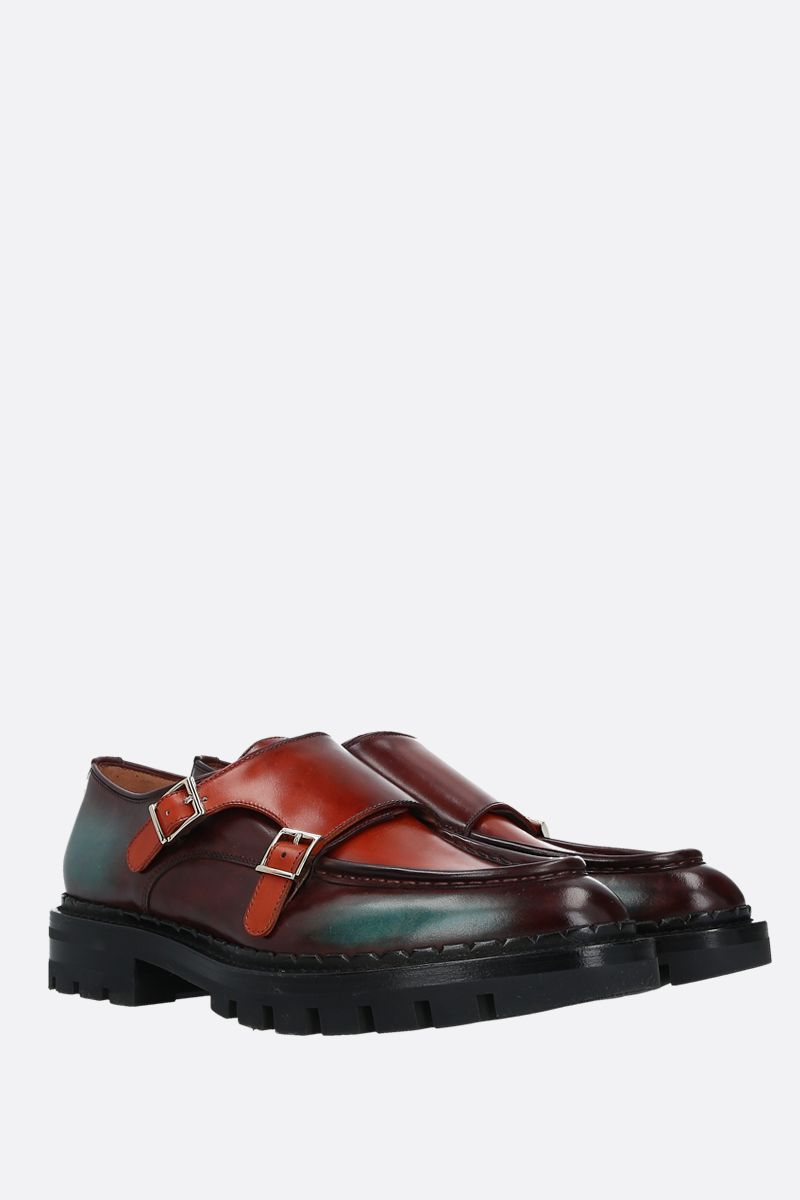 SANTONI: dyed leather double-buckle monkstrap shoes Color Red_2