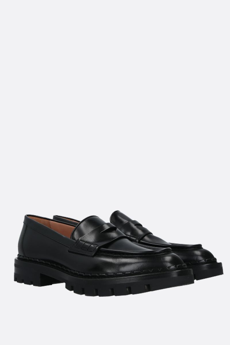 SANTONI: shiny leather loafers Color Black_2