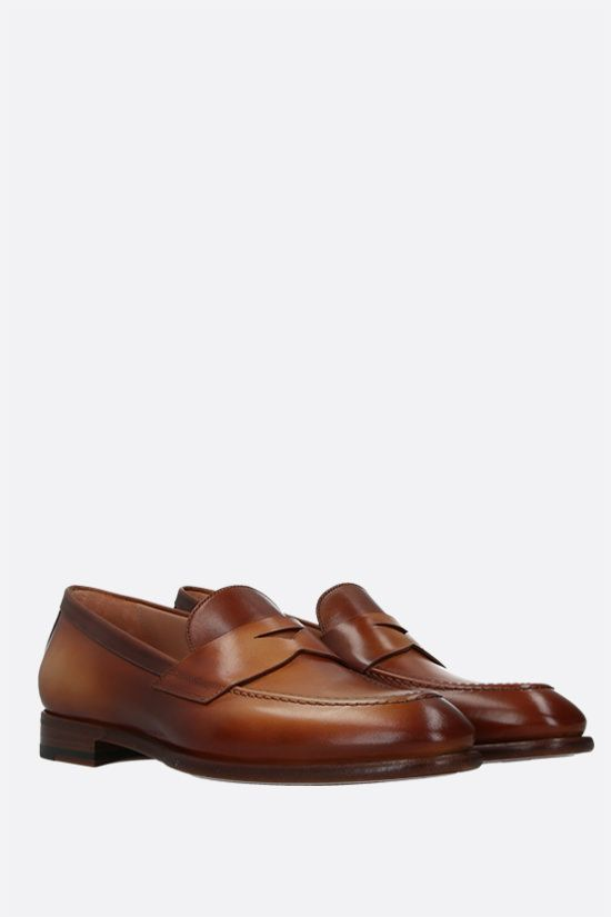 SANTONI: shiny leather loafers Color Brown_2