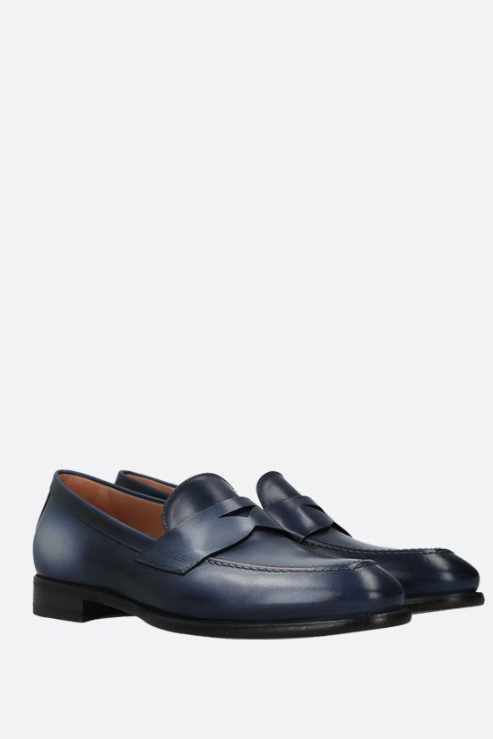 SANTONI: shiny leather loafers Color Blue_2