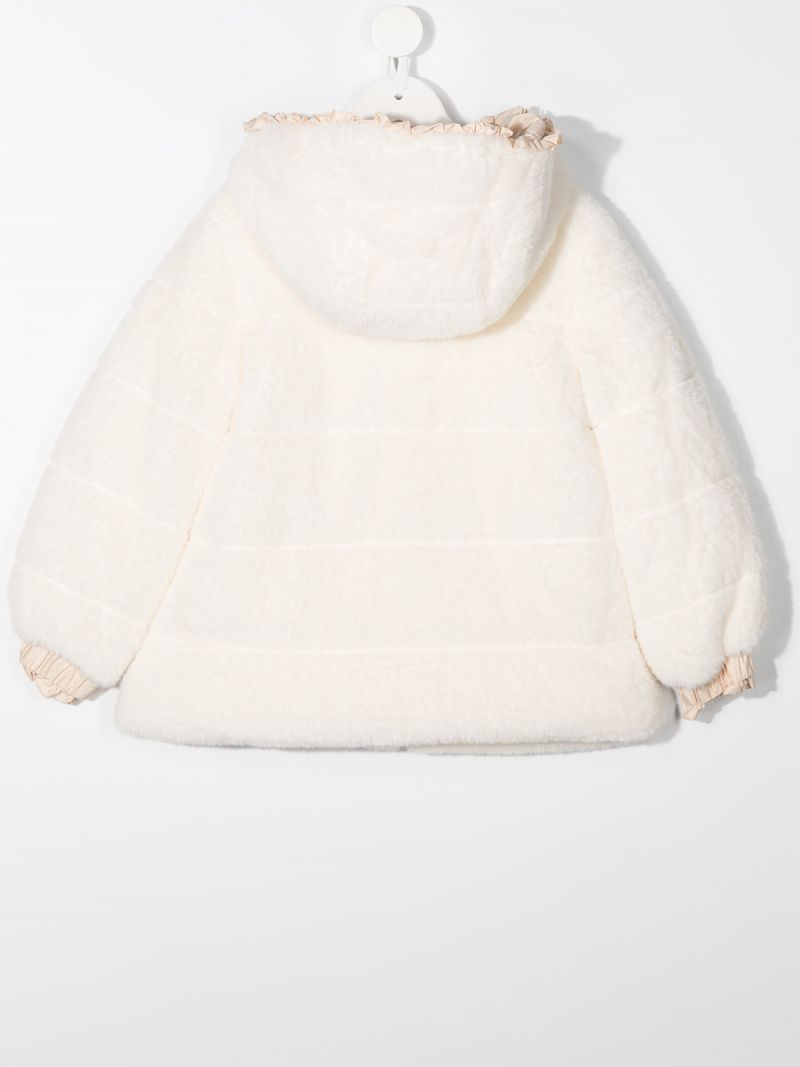 MONNALISA: faux fur full-zip jacket Color White_2