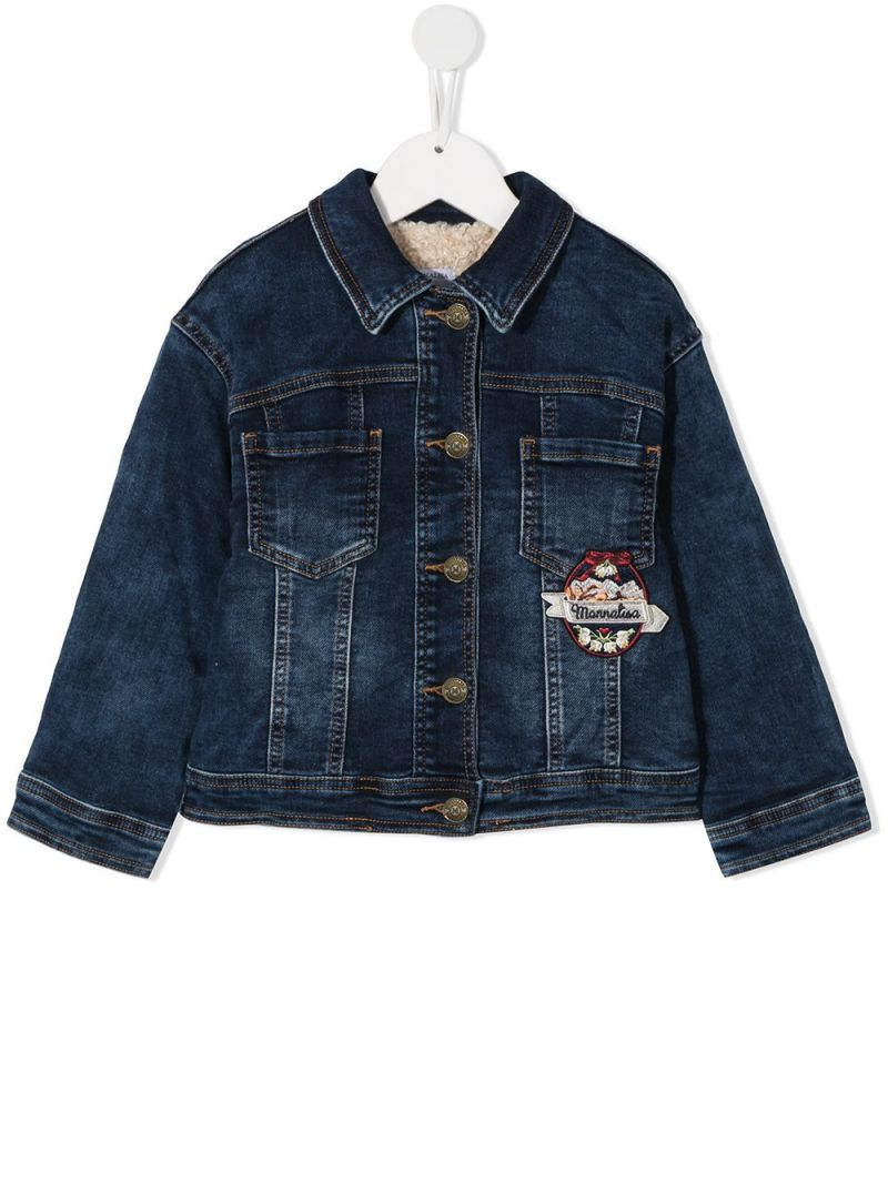 MONNALISA: Cortina patch stretch denim jacket Color Blue_1
