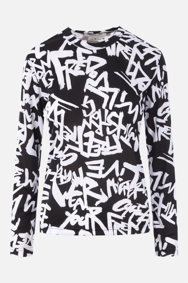 COMME des GARCONS: top in jersey con stampa Colore Black_1