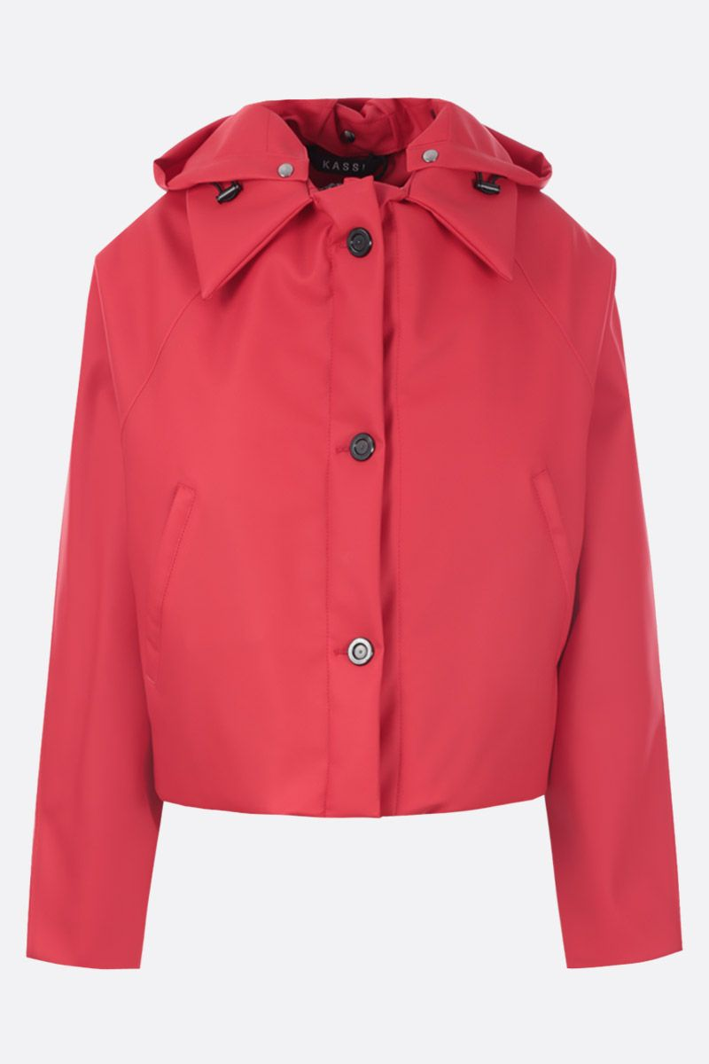 KASSL EDITIONS: crop padded jacket in coated canvas Color Red_1