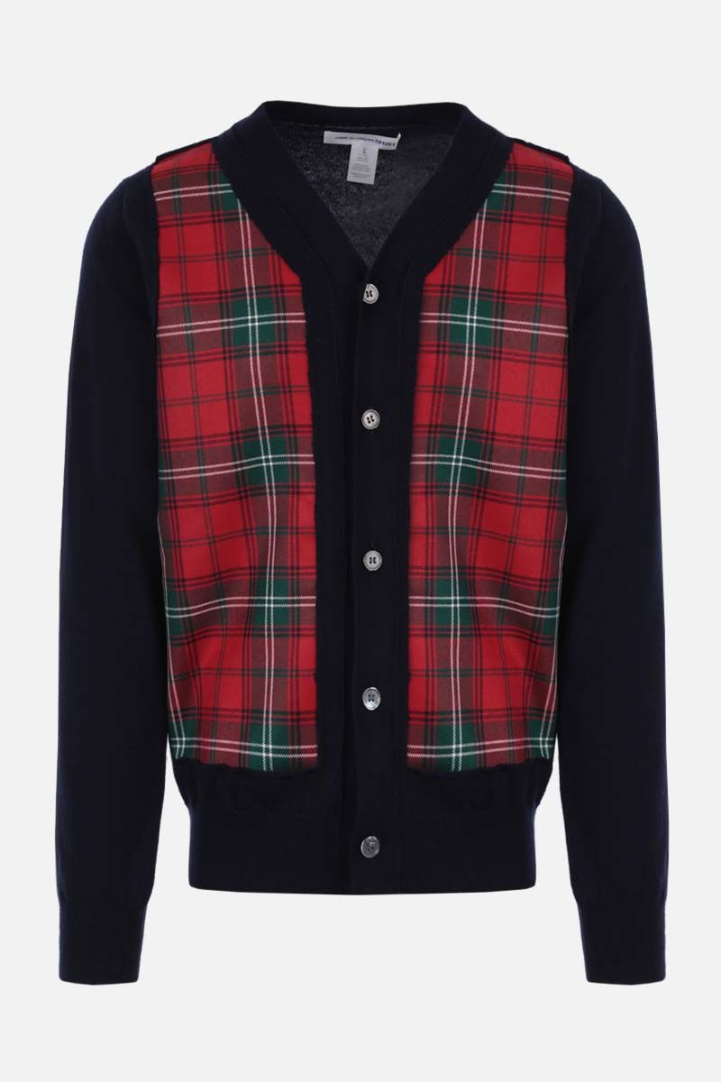 COMME des GARCONS SHIRT: check insert wool cardigan Color Blue_1