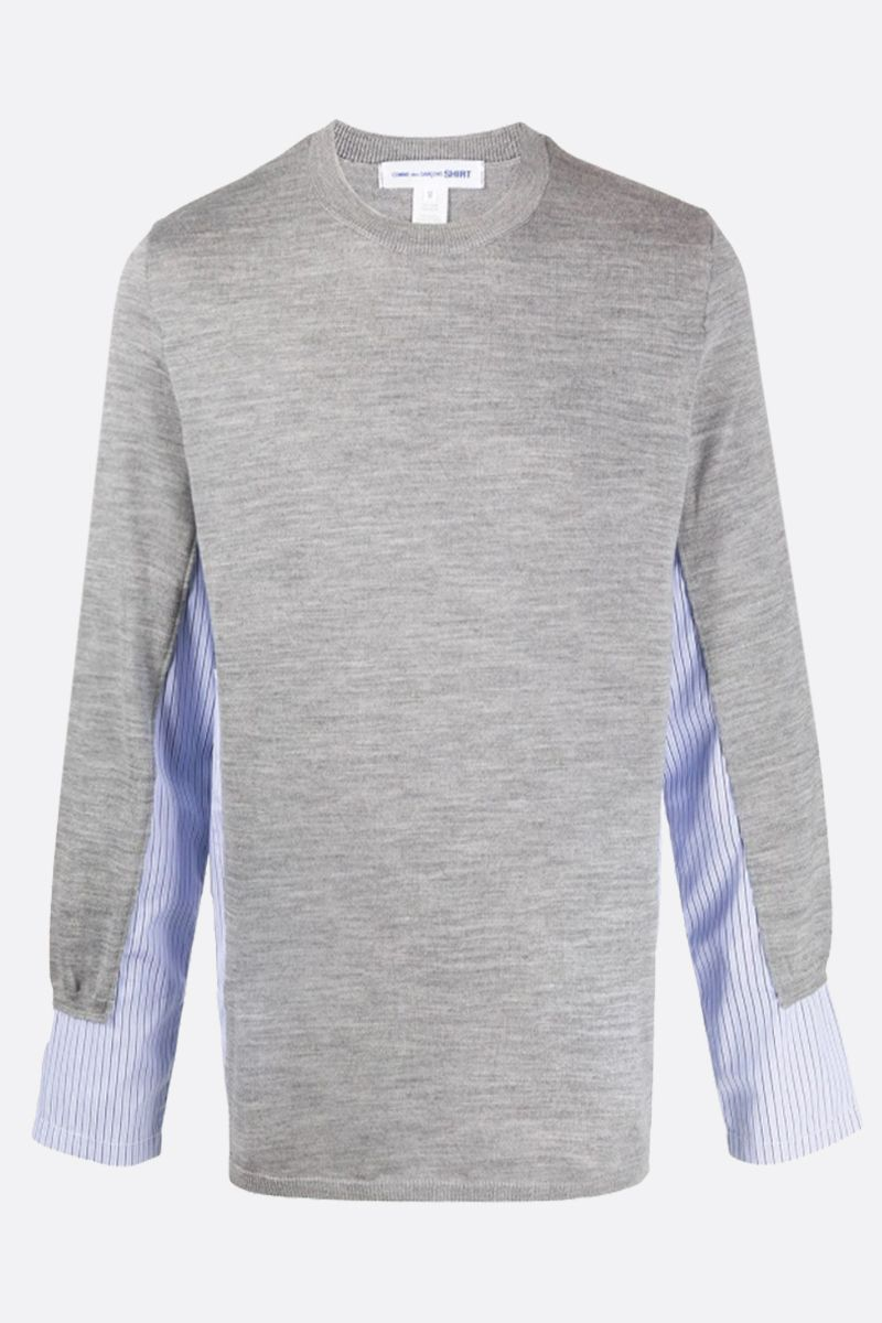 COMME des GARCONS SHIRT: wool pullover with shirt-style inserts Color Grey_1