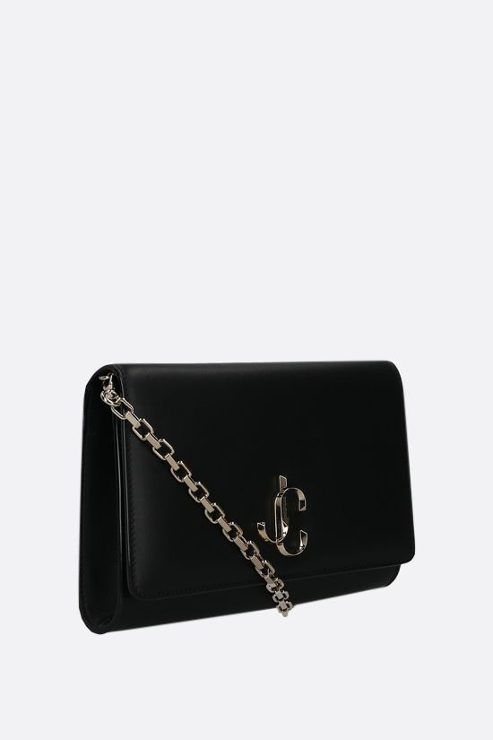 JIMMY CHOO: Varenne smooth leather chain clutch Color Black_2