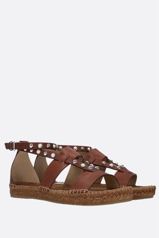 JIMMY CHOO: Denise smooth leather espadrille sandals Color Brown_2