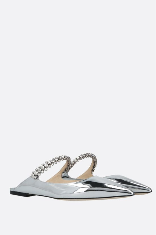 JIMMY CHOO: slipper Bing in pelle laminata con cristalli Colore Argento_2