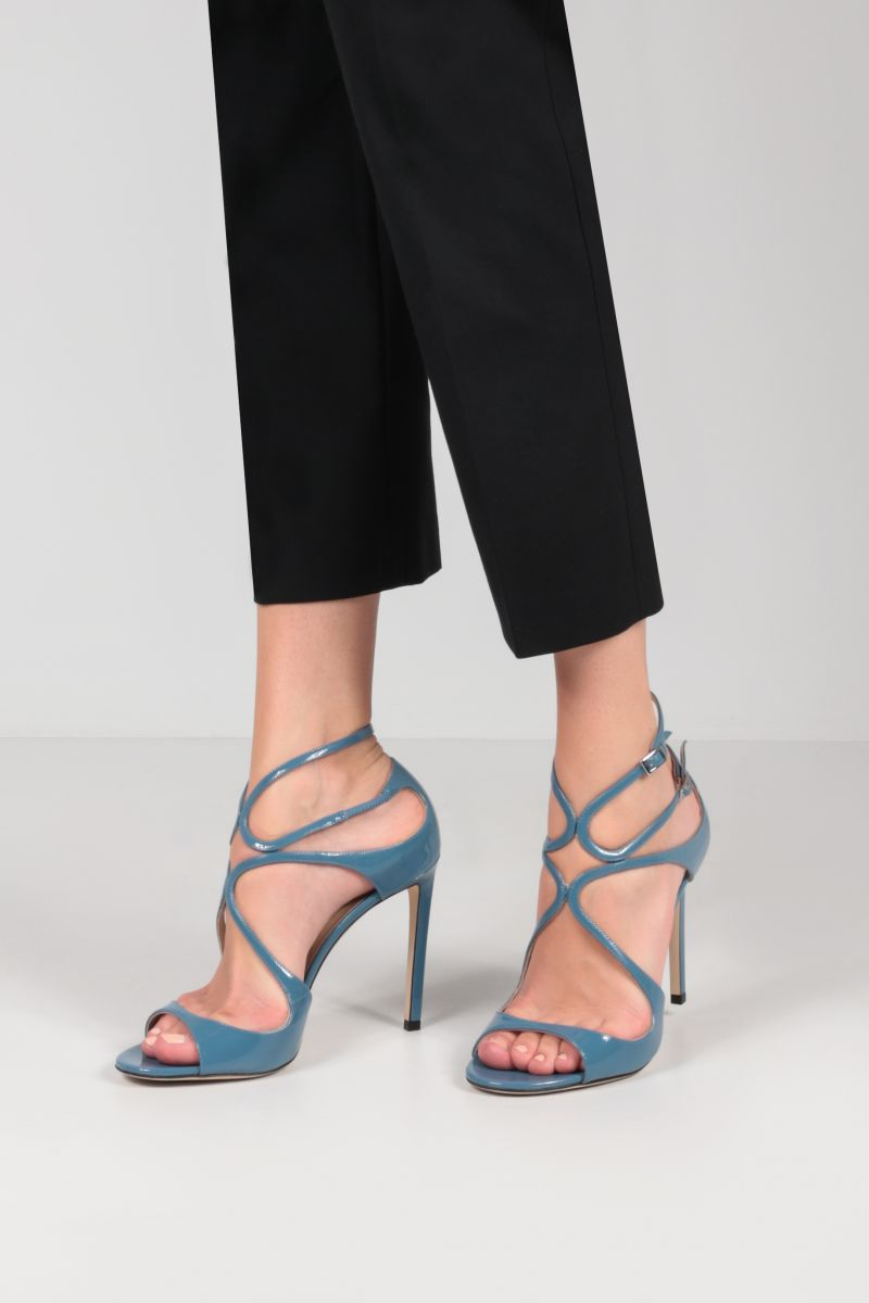 JIMMY CHOO: Lang patent leather sandals Color Blue_2