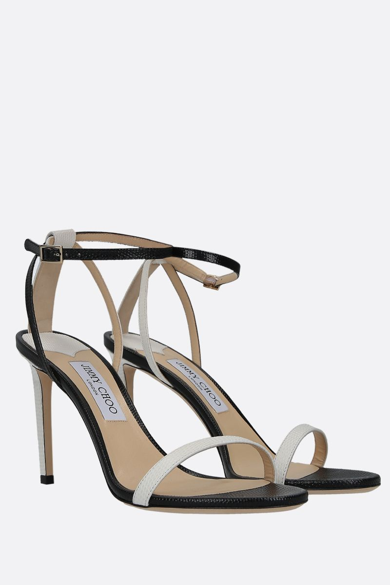 JIMMY CHOO: Minny sandals in lizard embossed leather Color Grey_3