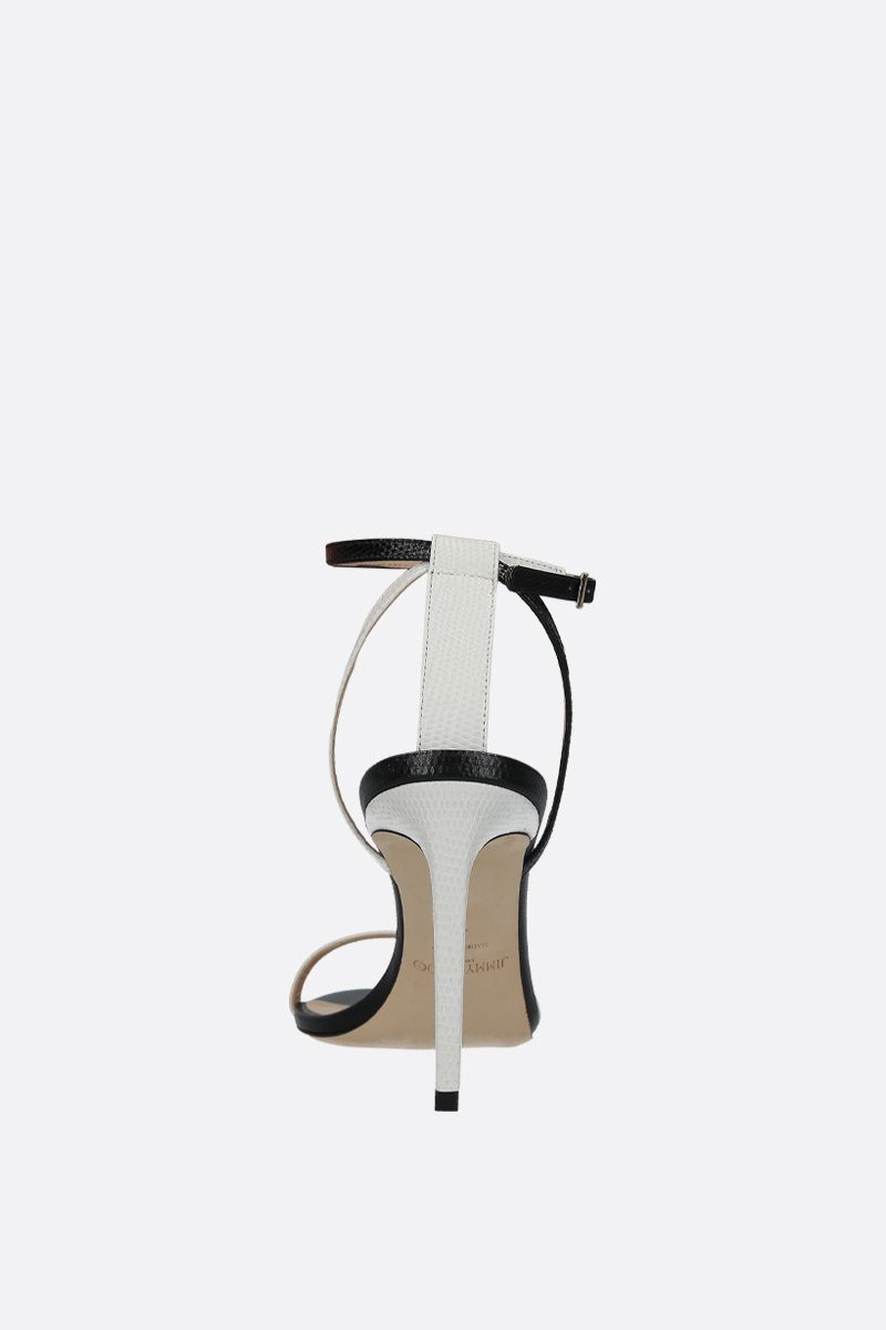 JIMMY CHOO: Minny sandals in lizard embossed leather Color Grey_4