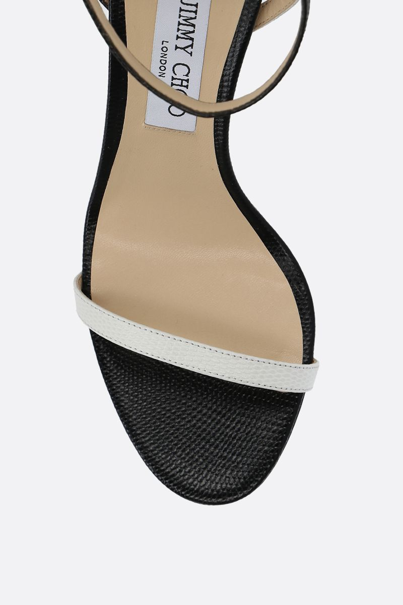 JIMMY CHOO: Minny sandals in lizard embossed leather Color Grey_5