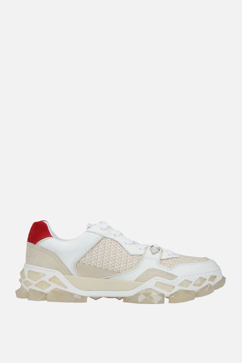 JIMMY CHOO: Diamond X/M sneakers in a mix of materials Color White_1