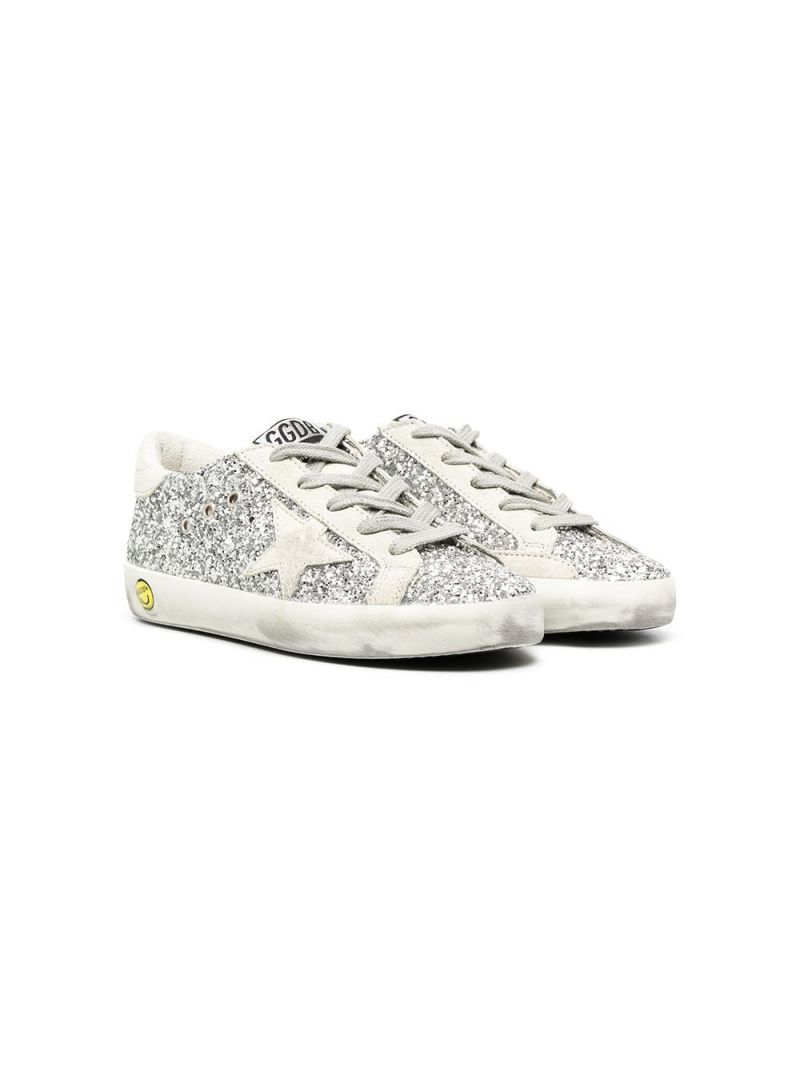 GOLDEN GOOSE DELUXE BRAND KIDS: Superstar glitter and suede sneakers Color Silver_1