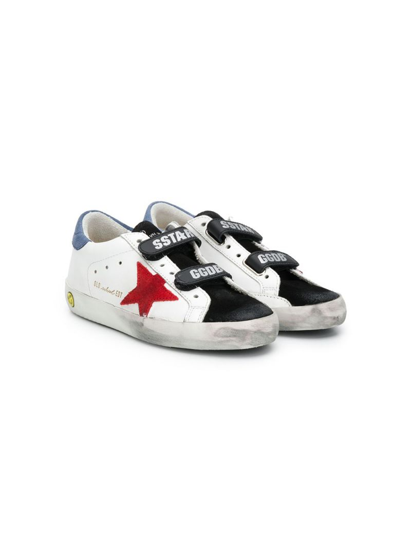 GOLDEN GOOSE DELUXE BRAND KIDS: Superstar smooth leather and velvet sneakers Color White_1