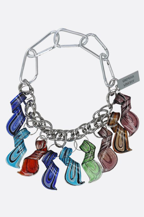 CHOPOVA LOWENA: metal and glass chain necklace Color Multicolor_1
