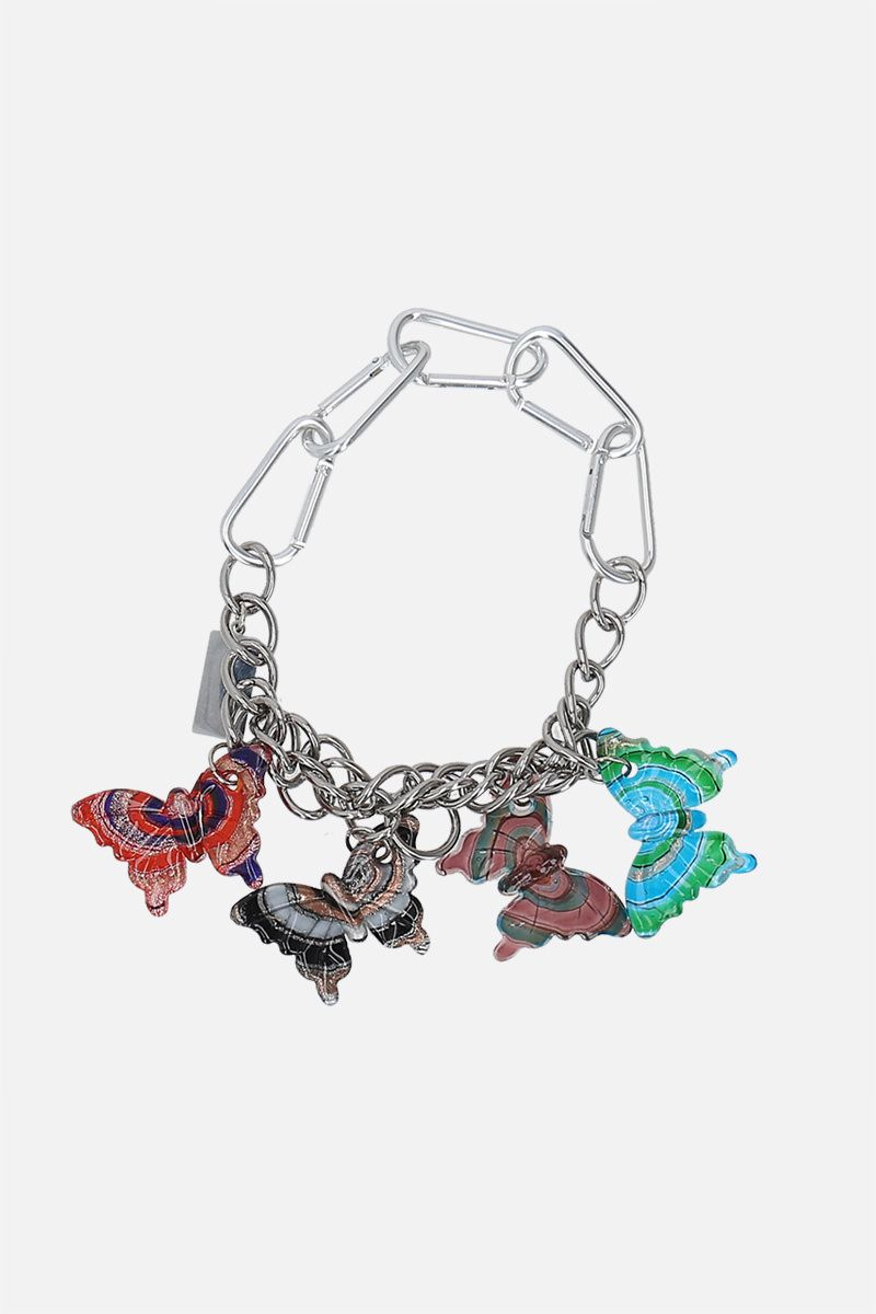 CHOPOVA LOWENA: Butterflies Charm steel and glass chain necklace Color Silver_1