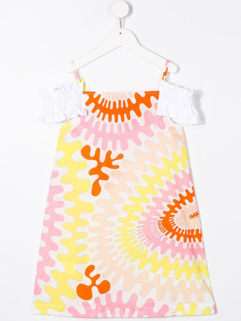 EMILIO PUCCI JUNIOR: graphic print cotton A-line dress Color White_2