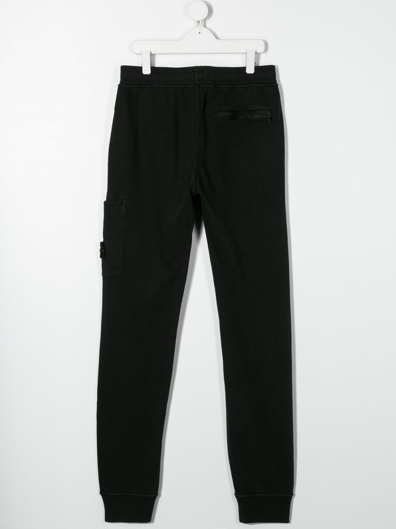 STONE ISLAND JUNIOR: logo badge-detailed cotton joggers Color Black_2