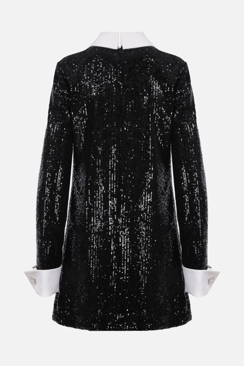 GIUSEPPE DI MORABITO: jewel button-detailed sequinned fabric minidress Color Black_2