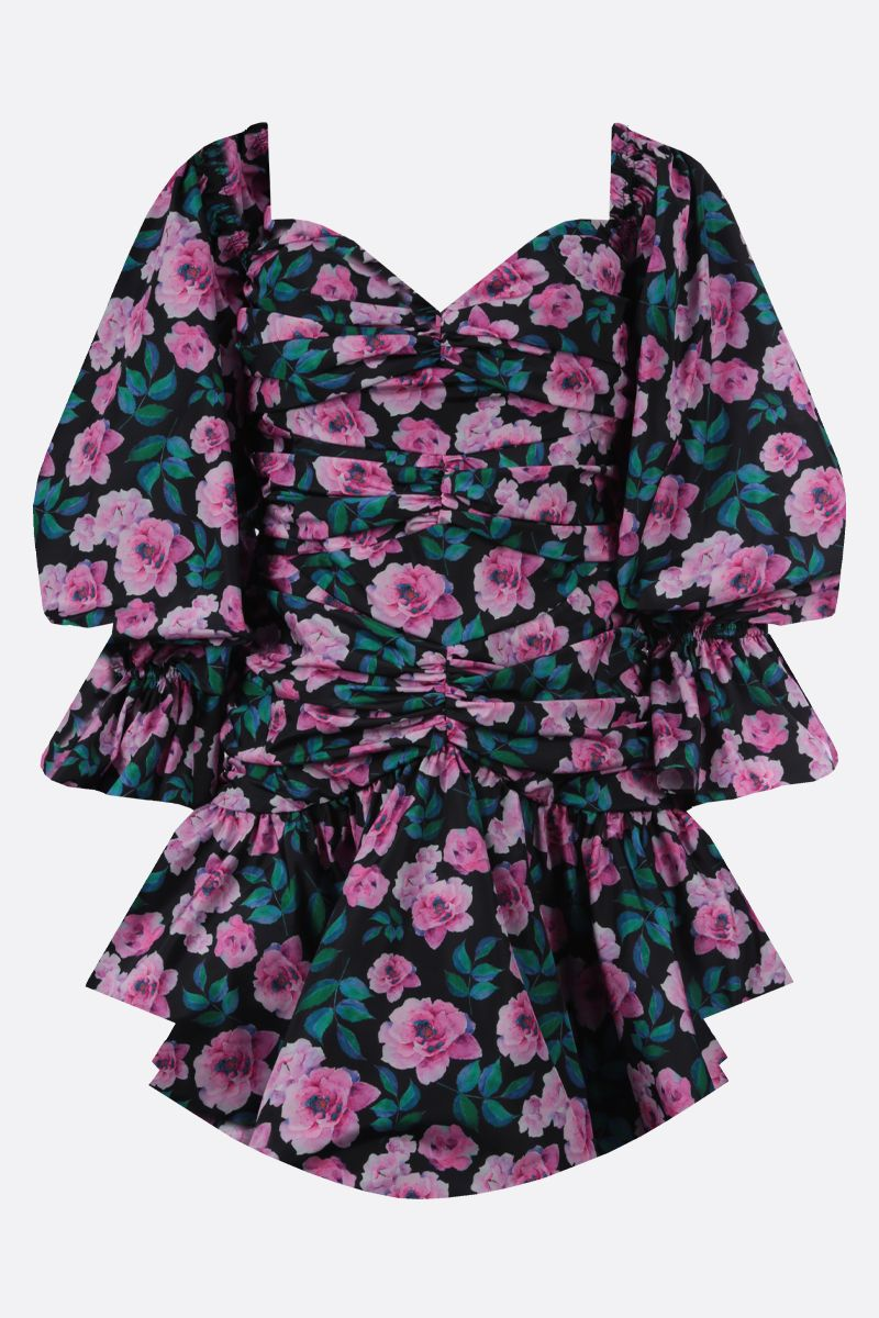 GIUSEPPE DI MORABITO: floral print taffetà draped minidress Color Multicolor_1