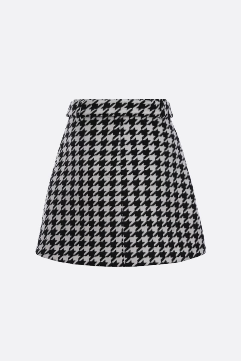 GIUSEPPE DI MORABITO: houndstooth wool blend A-line miniskirt Color Black_2