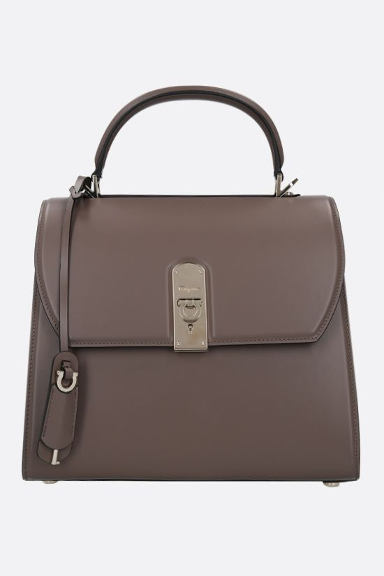 SALVATORE FERRAGAMO: Boxyz large smooth leather handbag Color Brown_1