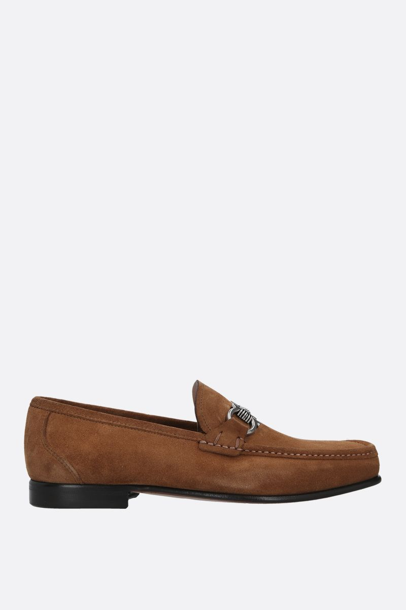 SALVATORE FERRAGAMO: Swan suede loafers Color Brown_1
