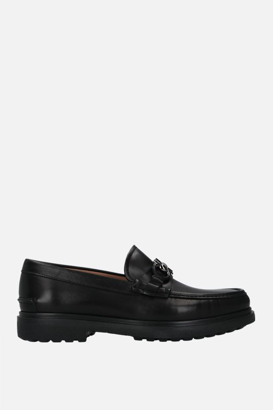 SALVATORE FERRAGAMO: Ready smooth leather loafers Color Black_1