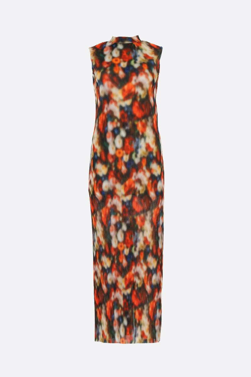 FRANKIE MORELLO: printed pleated fabric long dress Color Multicolor_1