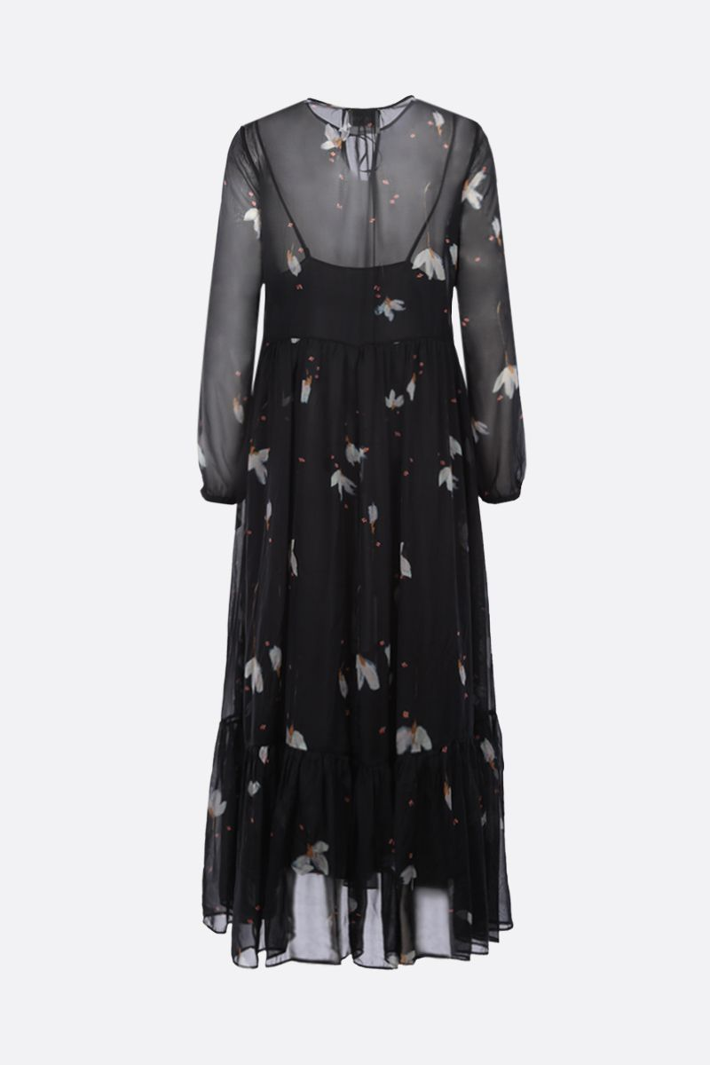 FORTE FORTE: floral print silk long dress Color Black_2