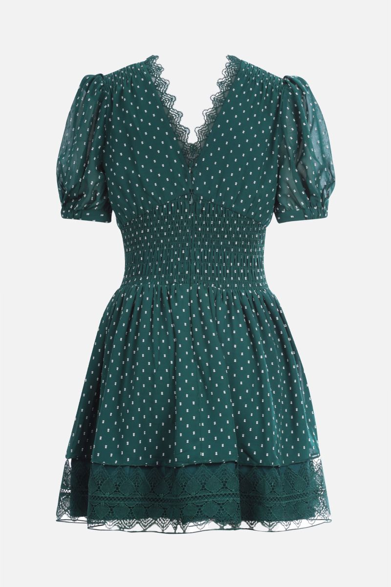 SELF PORTRAIT: lace-trimmed plumetis minidress Color Green_2
